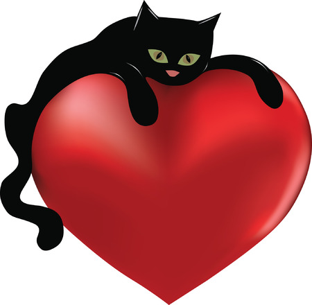 Black cat hugging a big heart.
