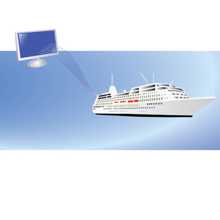 liner transportation: Template with ship and computer Illustration
