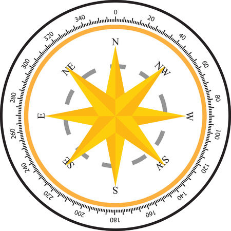 yellow adventure: wind rose compass  Illustration