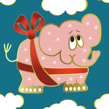 Seamless background with elephant, red ribbon Vector
