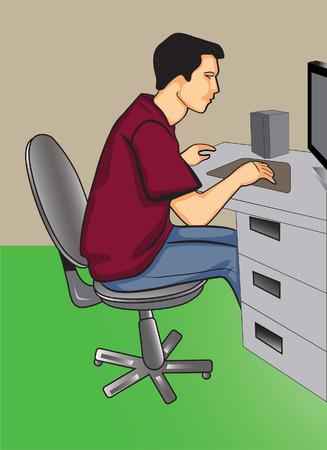ingenieurs: Programmeur achter zijn computer zit  Stock Illustratie