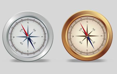 navigation object:  illustration of a silver avd bronze compasses  Illustration