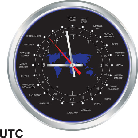 timezone: Silver clock with time zones
