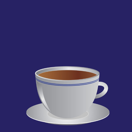 White cup with coffee or tea,  illustration Vector