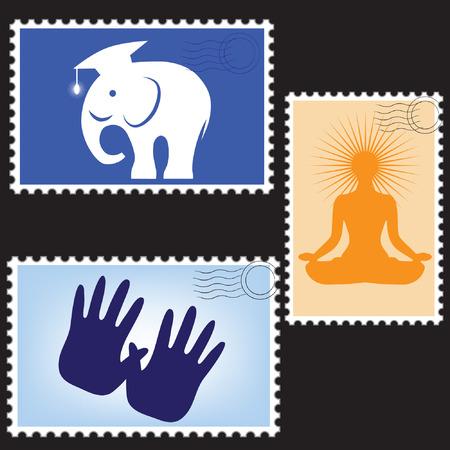 Ilustración de un sellos de correos de espacios en blanco