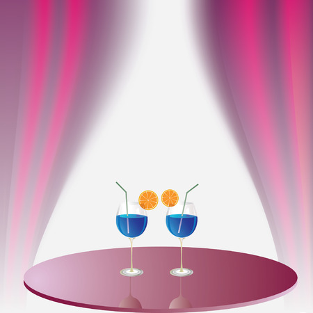 Two glasses with beverage on the table Stock Vector - 7351951