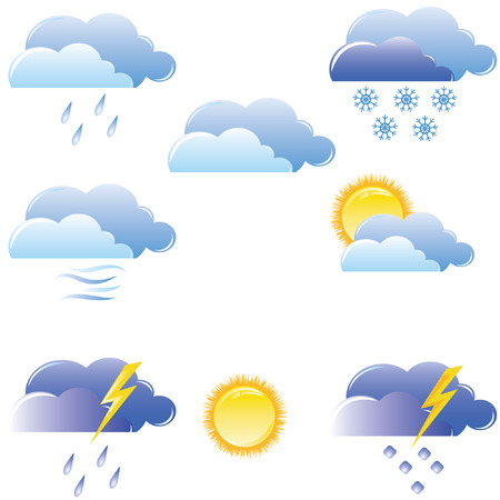 temperature: illustration of a weather icons set