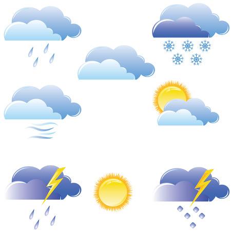 Ilustración de un conjunto de iconos de clima  Ilustración de vector