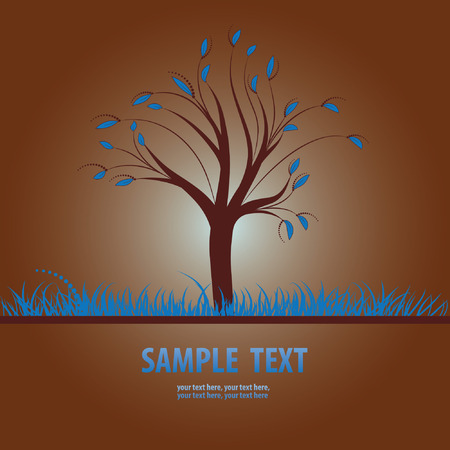 Card design with stylized tree and grass Vector