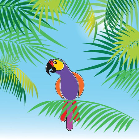 tropics: Tropical background with leaves of palm trees and parrot.
