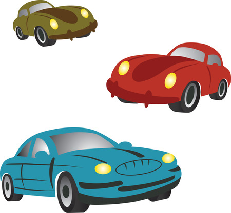 Set of icons with cartoon cars.  Vector