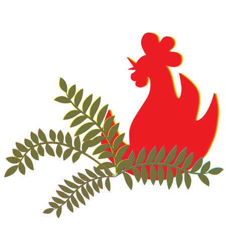 Firercook or fire rooster. Vector
