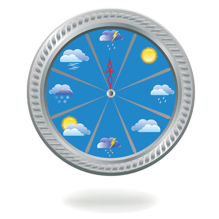 cold weather: illustration of a clock with weather icons