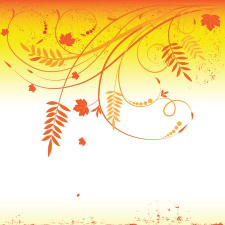 Grunge autumn floral background  Stock Vector - 7606095
