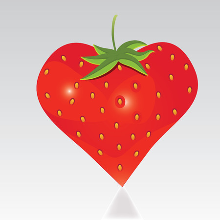 Strawberry with shape like heart. Fun icon. Isolated on white background.  Vector
