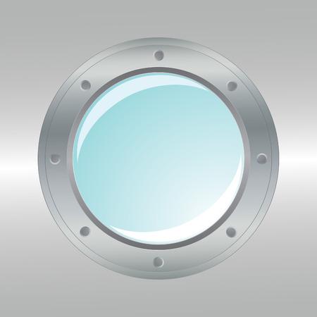 ventana ojo de buey: Portilla met�lico realista. Elemento de dise�o.