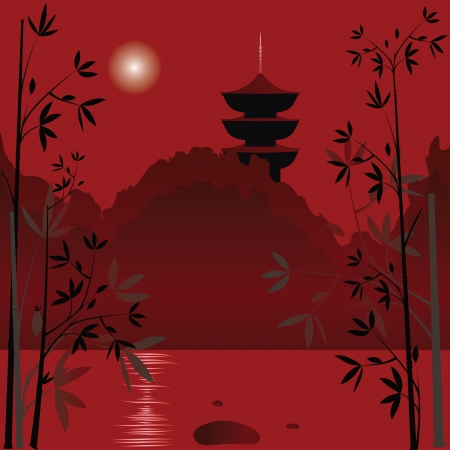 Magic asian lake with sunset background and bamboo  Illustration