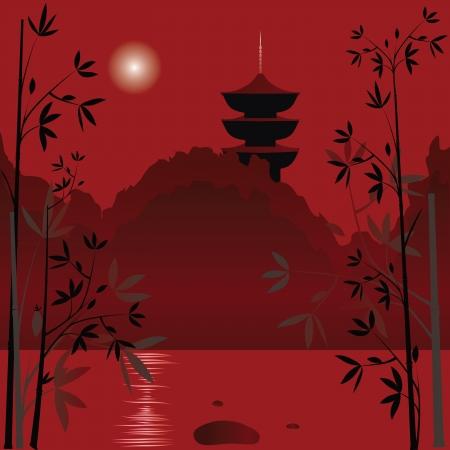 china landscape: Magic asian lake with sunset background and bamboo  Illustration