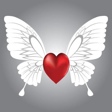 corazon con alas: Fondo de San Valent�n de coraz�n alado, ilustraci�n.  Vectores
