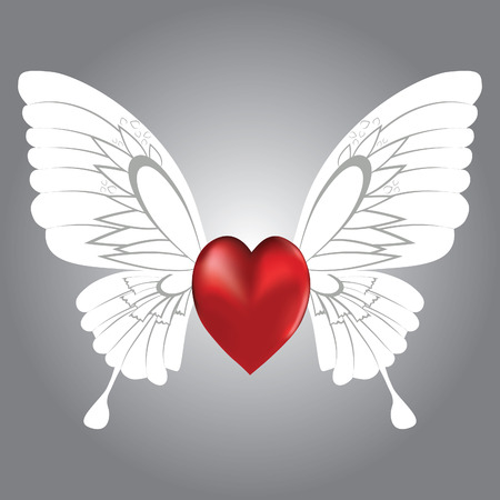 heart wings: Valentine background of winged heart,  illustration. Illustration