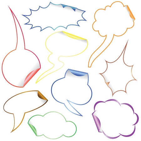 Set of Comic Clouds and bubbles as stickers and labels with colorful borders.   illustration. Stock Vector - 7744832