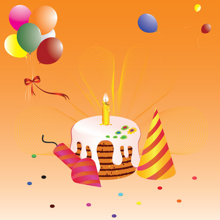 Birthday greeting card with a cake and balloons.  Vector