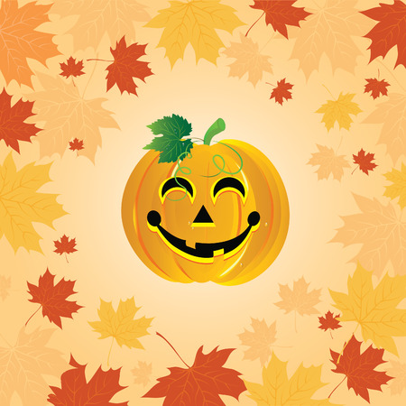 Halloween pumpkin on the autumn leaves. illustration. Vector