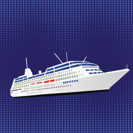 ocean liner: Template with halftone effect, illustration