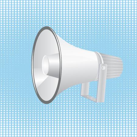 Loudspeaker on blue background with halftone.illustration. Stock Vector - 7969584