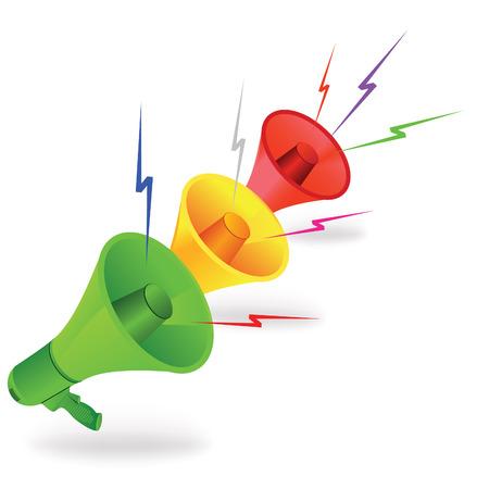 Trois haut-parleurs comme traffik feux avec des éclairs colorés.  Illustration vectorielle.  Vecteurs