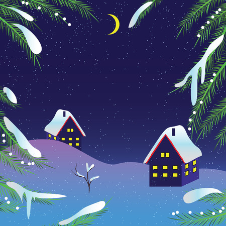 Christmas night background. illustration. Vector