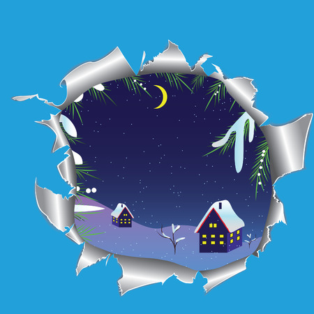 Hole in paper into the winter snowy landscape. illustration. Vector