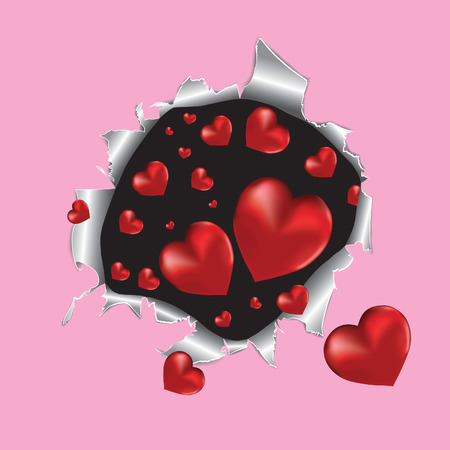 lovestruck: Tear paper with hearts. illustration.