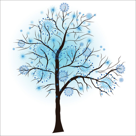 snow tree: Decorative winter tree, vector illustration  Illustration