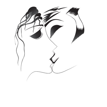 loved: Vector hand drawn loved couple.
