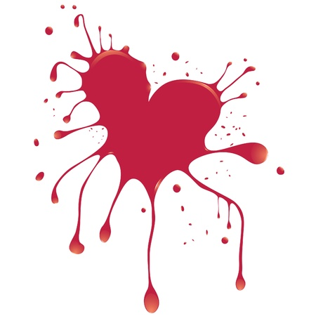 Grunge abstract heart with blood. Element for design. Vector illustration. Vector