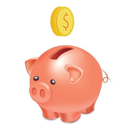 cuenta bancaria: Bot�n como moneda de hucha con caer oro, ilustraci�n vectorial