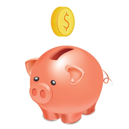 Schaltfläche wie Piggy Bank with falling gold Coin, Vector illustration