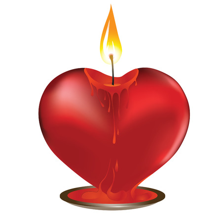 Vector valentine candle in heart shape. Element for design Vector