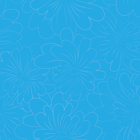 roll curtains: Vector seamless floral background with hand drawn flowers