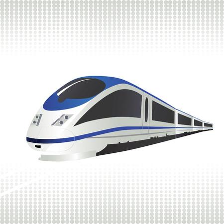 Tren de alta velocidad sobre fondo de semitonos. Ilustración vectorial.