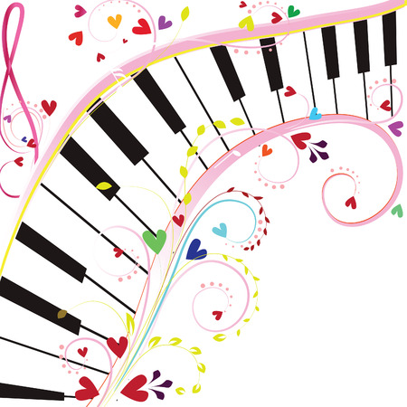 piano background: Piano keyboard on a white background with notes and hearts for Valentine holiday