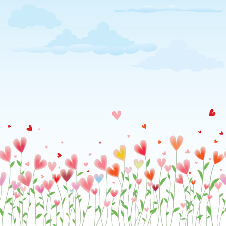 feb: Valentines Day horizontal seamless background with flowers like hearts. Illustration
