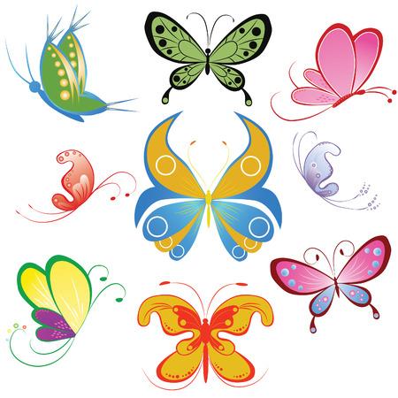 farfalla tatuaggio: Collezione di farfalle multicolori. Elemento di design.  illustrazione Vettoriali