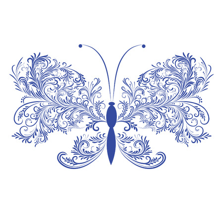 Abstract floral butterfly. Element for design. illustration.