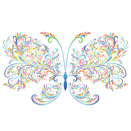 Abstract floral butterfly. Element for design.  Vector