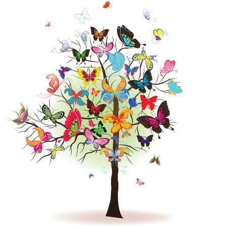 papillon dessin: Arbre floral avec butterfly, �l�ment de design, illustration