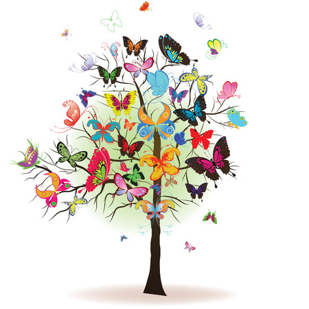 butterfly wings: Floral tree with butterfly, element for design, illustration