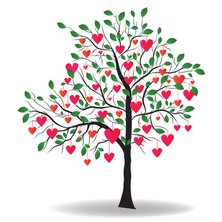red trees: Valentine tree with leaves like hearts. illustration.