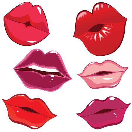 Conjunto de labios brillantes en licitación de kiss. Ilustración de vector